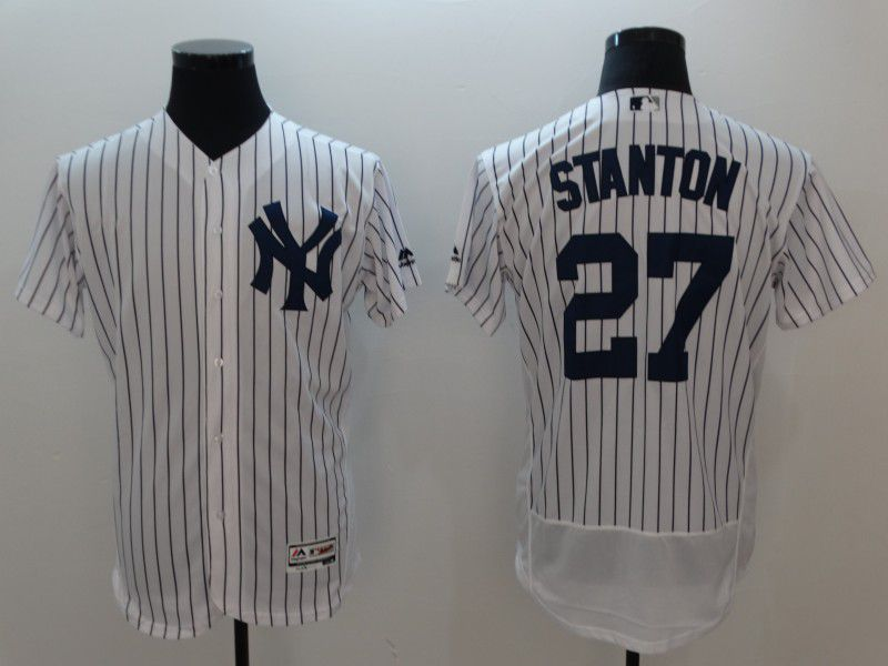 Men New York Yankees 27 Stanton White Elite MLB Jerseys